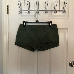 American Eagle Olive Green Shortie Shorts Size 6